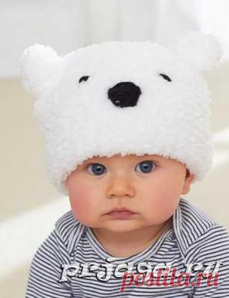 Шапка спицами «Панда»