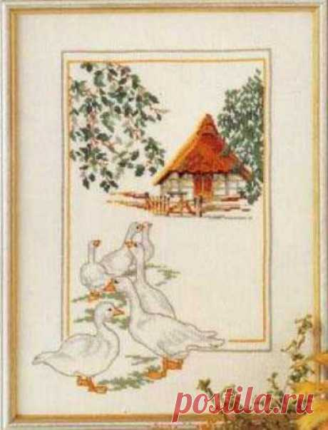 схема для вышивки крестом пейзажа Гуси во дворе