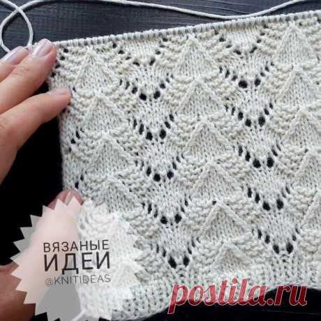 Вязание спицами. Нежный узор для вязания.
