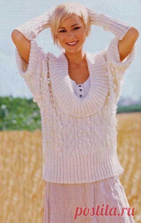 Узорчатый пуловер и нарукавники