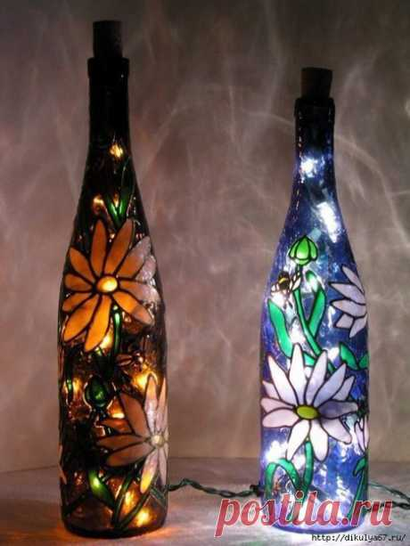 Unusual night lamps from bottles