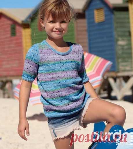 Летний пуловер для девочки - схема вязания спицами с описанием на Verena.ru