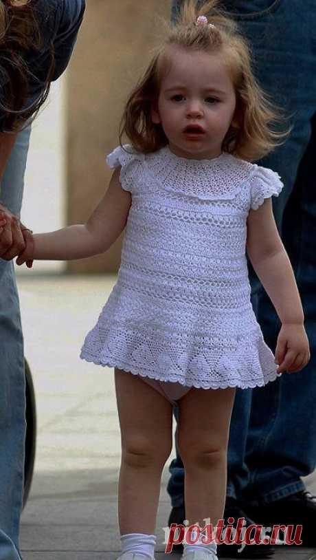 Платье крючком для малышки » Ниткой - вязаные вещи для вашего дома, вязание крючком, вязание спицами, схемы вязания