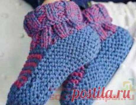 Cozy knitted slippers - durable. Spokes. \/ KNITTED SOCKS