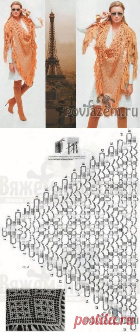 Персиковая шаль крючком