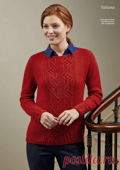 Пуловер Tatiana от Amanda Jones спицами.