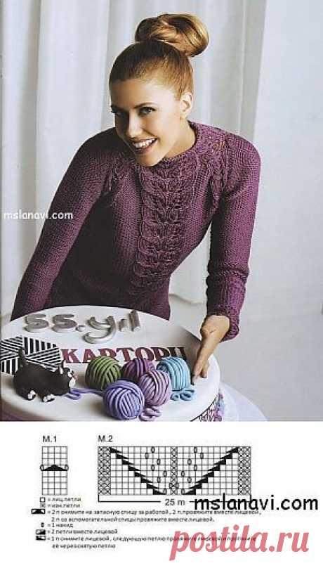 Вязаный ажурный пуловер с узором листочки | Вяжем с Ланой