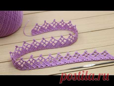КАЙМА КРЮЧКОМ простое ЛЕНТОЧНОЕ КРУЖЕВО мастер-класс по вязанию Easy to crochet lace ribbon