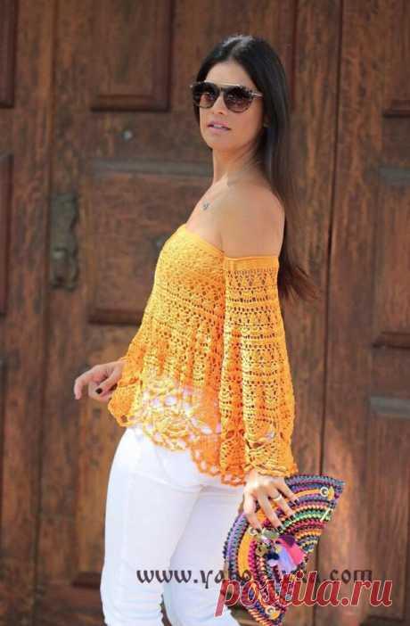 Блузка с открытыми плечами крючком. Красивая блузка из ажурных мотивов Блузка с открытыми плечами крючком. Красивая блузка из ажурных мотивов (234) Похожее