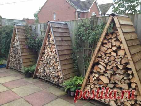 Интересные идеи декора дровами и хранения дров.