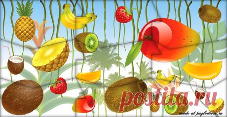 """Разрезная картинка пазл """"Тропические фрукты"""" для детей"""