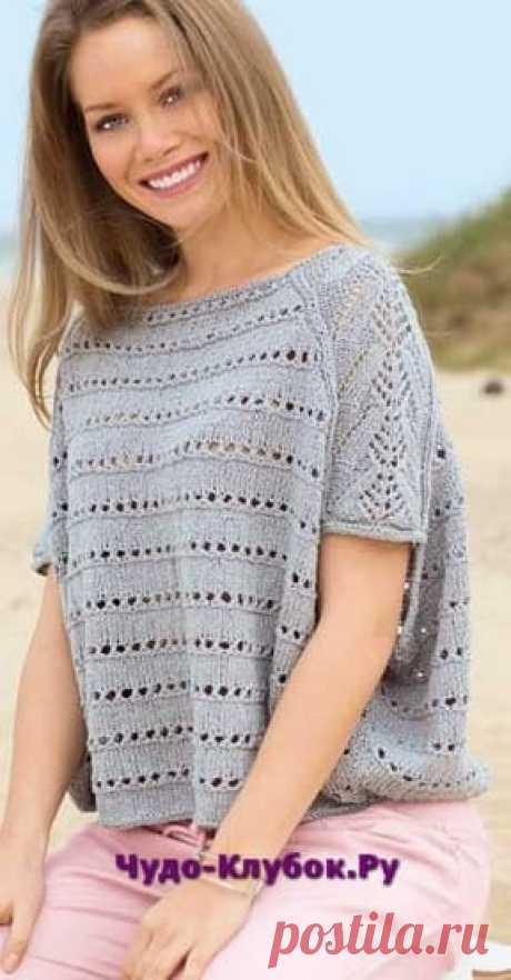 Свободный пуловер серого цвета вязаный спицами 1800  