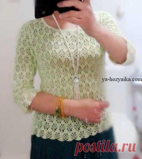 Летний пуловер крючком красивым узором. Ажурный летний пуловер схемы