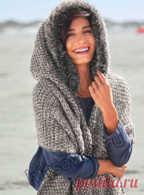 Накидка с капюшоном - Хитсовет Модная вязаная накидка с капюшоном для женщин со схемой и пошаговым бесплатным описанием вязания.