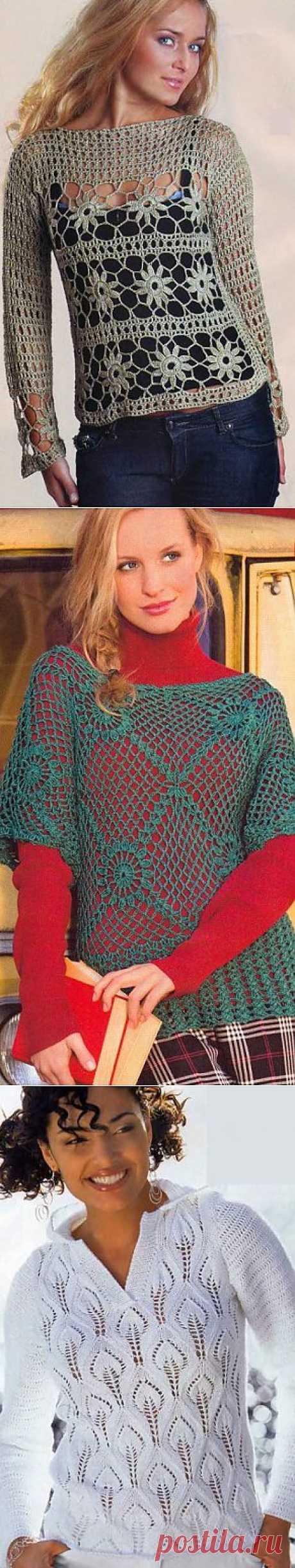 Вязаные пуловеры. Пуловер крючком - схема