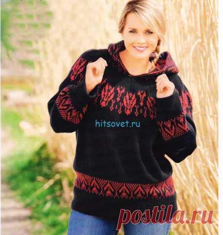 Модели PLUS Вязаный пуловер с капюшоном c красивым жаккардом спицами