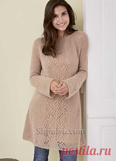 Платье-туника с ажурной полосой из мохера с шелком — Shpulya.com - схемы с описанием для вязания спицами и крючком