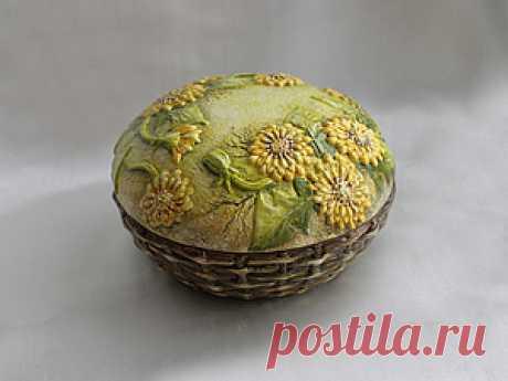 Одуванчики в объемной технике на шкатулке - Ярмарка Мастеров - ручная работа, handmade