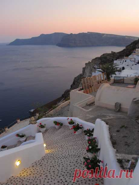 La isla Santorini hermosa, Grecia
