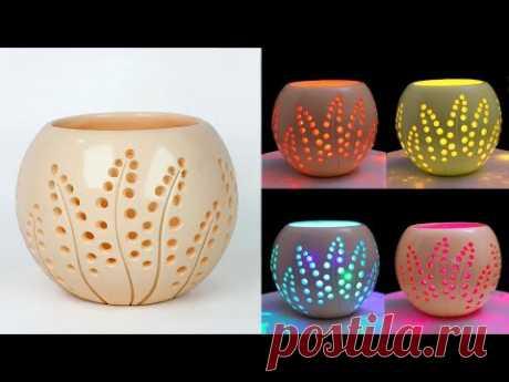 Table lamp Flower Vase making || Lighting corner Flower vase || Cement flower vase