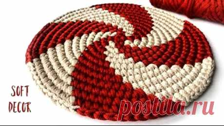 😃 В эту спираль влюбились все   Круглый коврик крючком из шнура (Вязание крючком) – Журнал Вдохновение Рукодельницы
