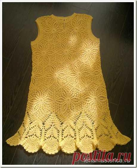 Вязаное платье Солнышко, желтое платье крючком. Схемы