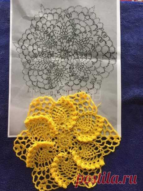 Цветочный мотив крючком для любителей объемных узоров