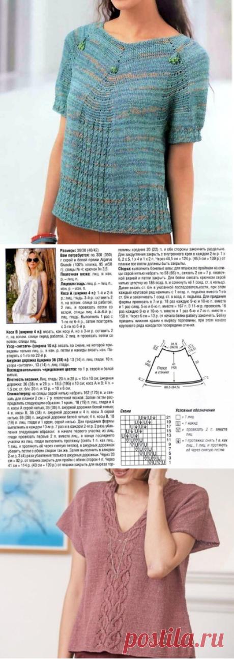 Летние джемперы и топы. Вязание спицами | Рекомендательная система Пульс Mail.ru