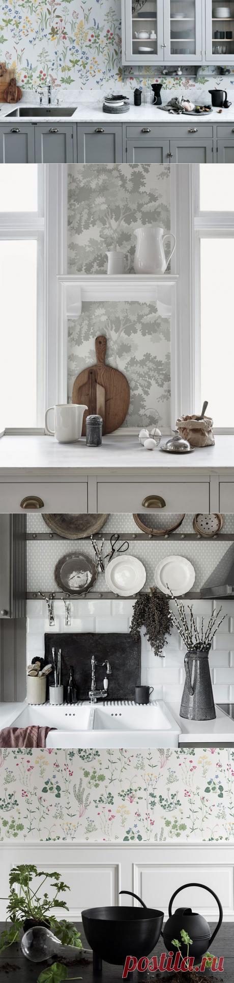 Скандинавские обои в интерьере кухни