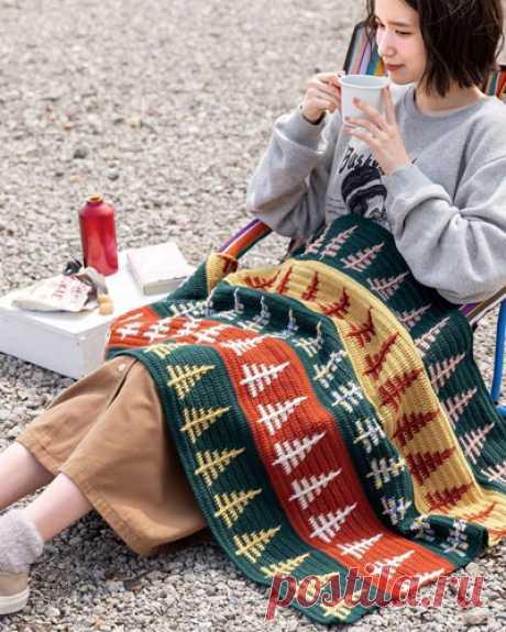 Плед с елочками Схема вязания пледа с елочками