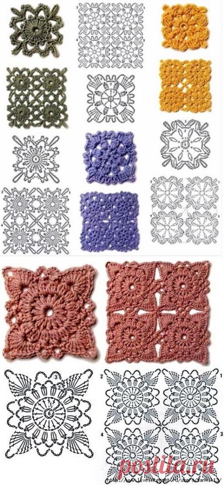 Квадратные мотивы крючком для покрывала, подушки, пледа, сумки, ковра