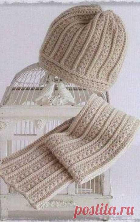 Стильный комплект из шапочки и шарфика из категории Интересные идеи – Вязаные идеи, идеи для вязания