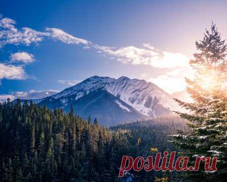 Картинки canada, sunlight, snowline, clouds, sky, trees, banff, national park - обои 1280x1024, картинка №411169