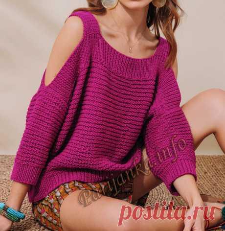 Лиловый пуловер спицами с искусственными капельками на плечах.