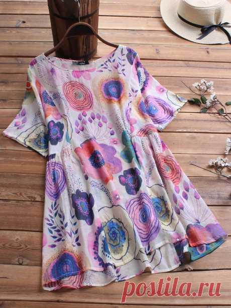 Summer Floral Print Short Sleeve Plus Size Blouse - US$15.99