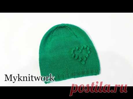 Cap with a heart. Knitting by spokes. Tutorial. Part 2.