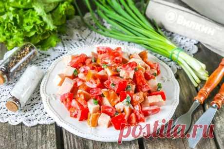 Салат с курицей и помидорами | Николай Малявин. | Яндекс Дзен
