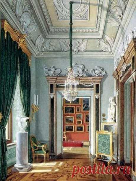 Verde angular. Arh. A.Rinaldi, 1770 años. La acuarela de E.Gau, 1880г. \/ la fuente: history-gatchina.ru | SORT 8