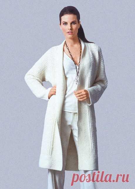 Стильный длинный кардиган Грация белого цвета спицами – вяжется легко, а смотрится восхитительно — Пошивчик одежды