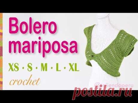 Bolero o torera mariposa tejido a crochet para mujeres en 5 tallas: XS·S·M·L·XL
