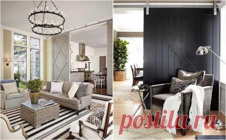 25 потрясающих гостиных с раздвижными амбарными дверями