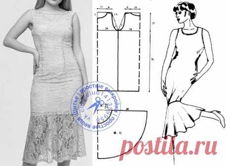 Платье миди с воланом. #простыевыкройки #простыевещи #шитье #платье #выкройка