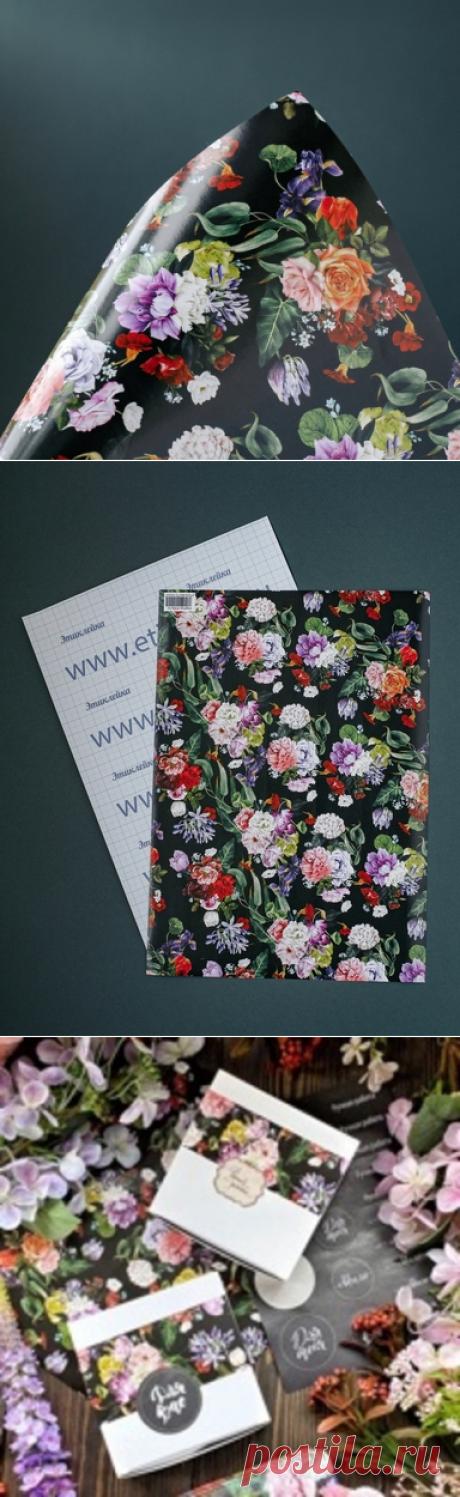 """Этиклейка """"Цветы на черном фоне""""  - новое слово в упаковке мыла и других подарков от """"Мамы Мыла"""""""