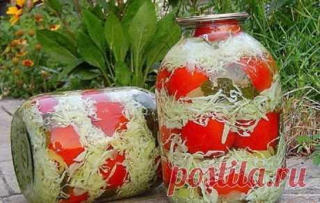Оригинальная заготовка: помидоры с капустой