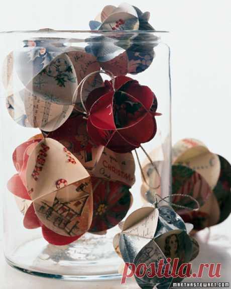 Новогодние ёлочные игрушки своими руками из старых открыток. Оригинальные самодельные ёлочные игрушки! | Детские игрушки и развивающие игры