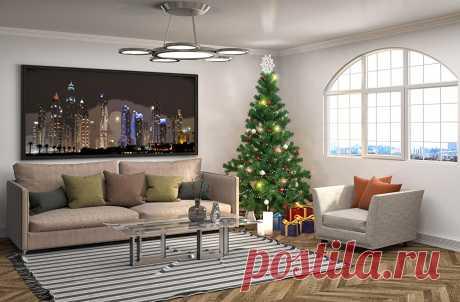Фотография Гостиная Новогодняя ёлка Подарки Интерьер Диван Люстра