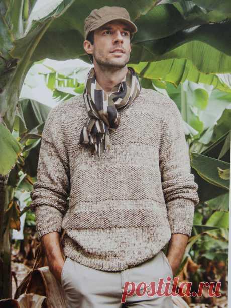 Мужской пуловер с фактурным узором | Вязание и творчество | Яндекс Дзен