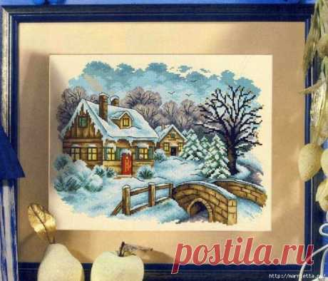 Домик в снегу. Схемы вышивки крестом