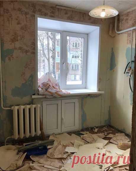 Наконец-то и наша кухня в Хрущёвке стала светлой и уютной. 5 кв счастья! Фото до/после