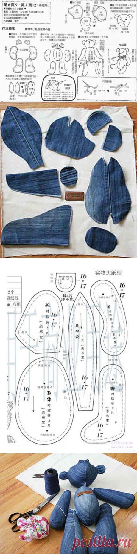 Шьем мишек Тедди из старых джинсов — Сделай сам, идеи для творчества - DIY Ideas